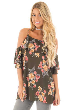 Olive Floral Print Cold Shoulder Tank Top with Ruffle Detail front close up