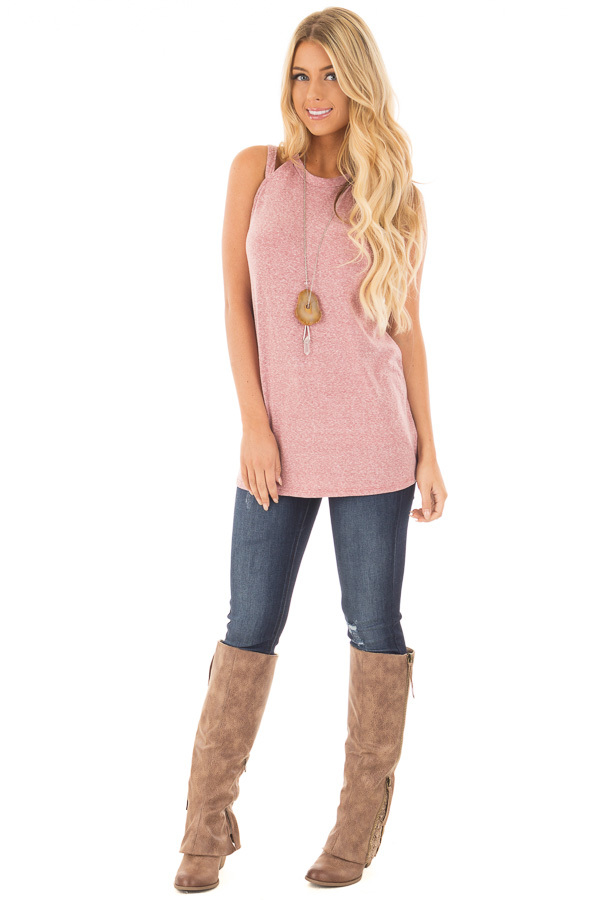 Berry Two Tone Double Strap Tank Top front full body