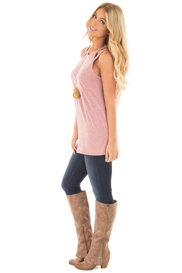 Berry Two Tone Double Strap Tank Top side full body