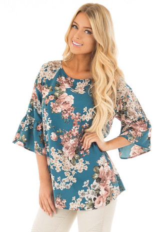 Teal Floral Print Top with Ruffled Sleeves front close up