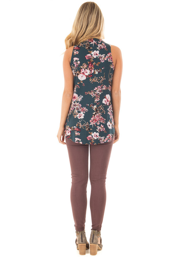 Forest Green Floral Print Tank Top with Cut Out Neckline back full body
