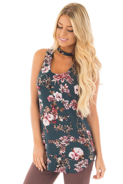 Forest Green Floral Print Tank Top with Cut Out Neckline front close up