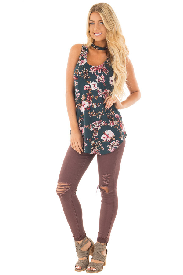 Forest Green Floral Print Tank Top with Cut Out Neckline front full body