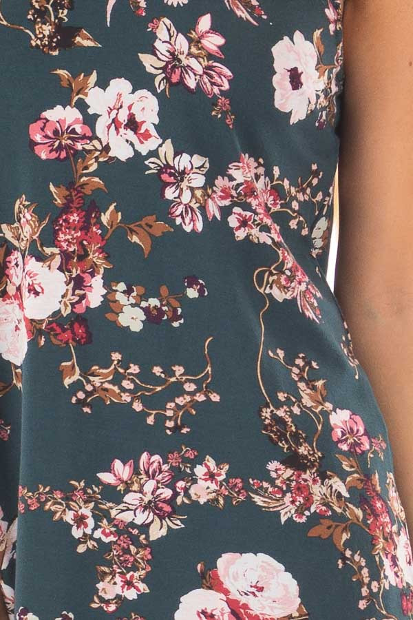 Forest Green Floral Print Tank Top with Cut Out Neckline detail