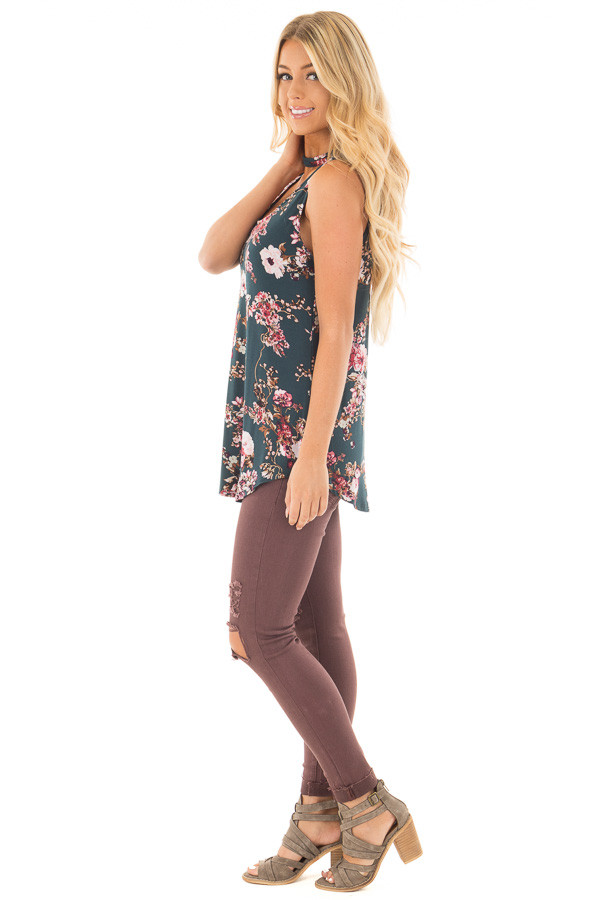 Forest Green Floral Print Tank Top with Cut Out Neckline side full body