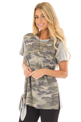 Camo Tee Shirt with Heather Grey Contrast and Tie Detail front close up