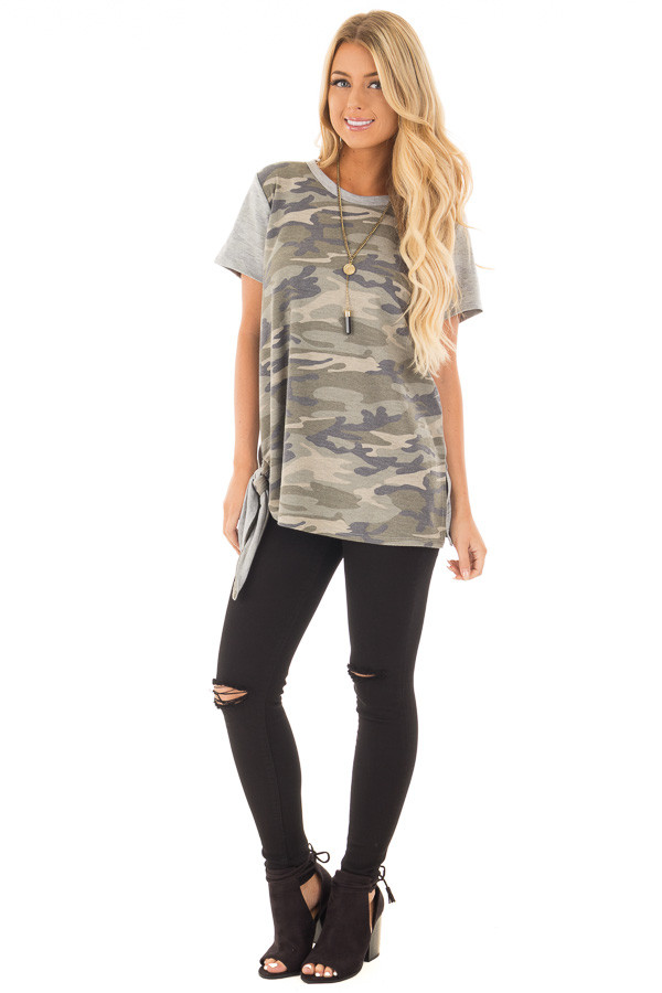 Camo Tee Shirt with Heather Grey Contrast and Tie Detail front full body