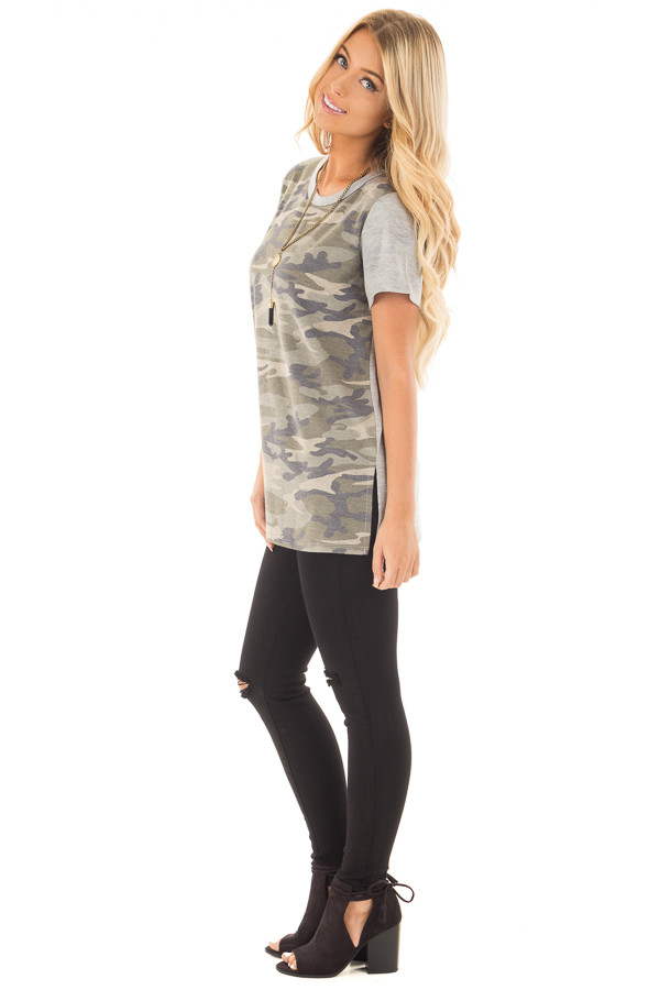 Camo Tee Shirt with Heather Grey Contrast and Tie Detail side full body