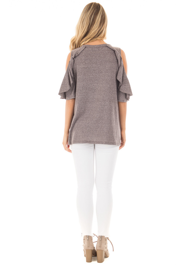 Charcoal Ruffled Cold Shoulder Top with Elbow Length Sleeves back full body