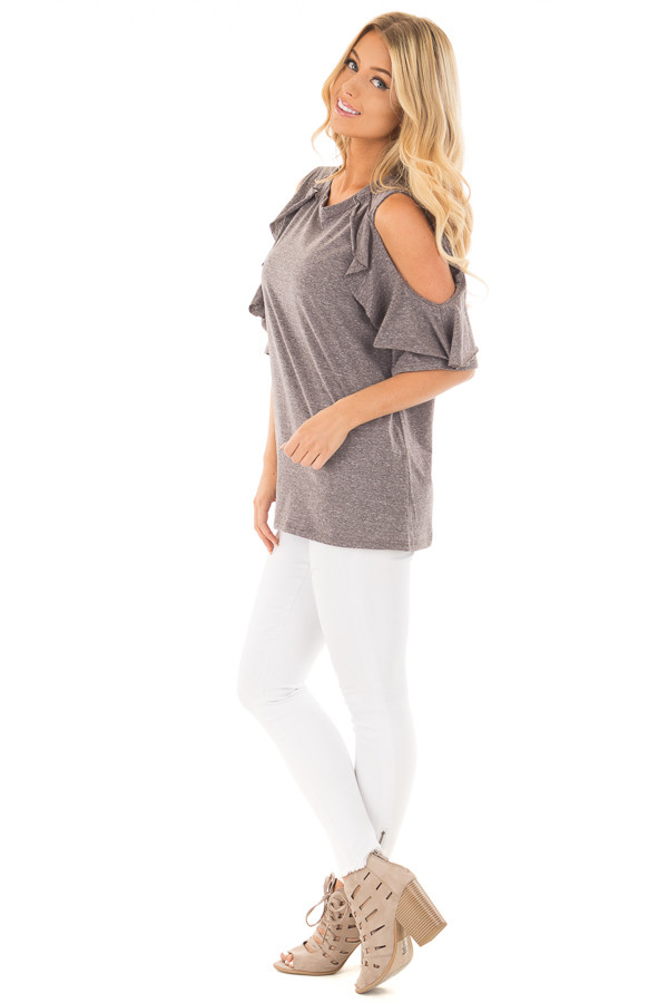 Charcoal Ruffled Cold Shoulder Top with Elbow Length Sleeves side full body