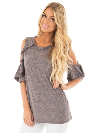 Charcoal Ruffled Cold Shoulder Top with Elbow Length Sleeves front close up