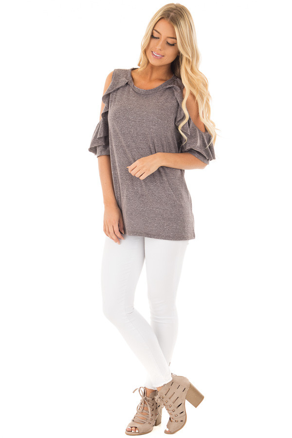 Charcoal Ruffled Cold Shoulder Top with Elbow Length Sleeves front full body