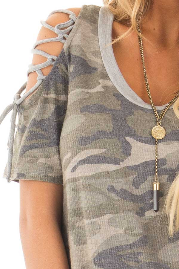 Camo Print Tee Shirt with Lace Up Cold Shoulders detail