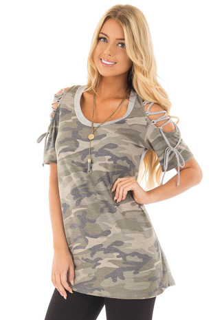 Camo Print Tee Shirt with Lace Up Cold Shoulders front close up
