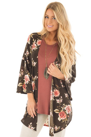 Olive and Blush Floral Print Slinky Kimono front close up