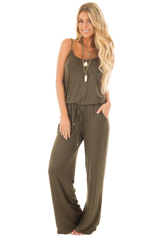 Olive Sleeveless Jumpsuit with Elastic Waist Tie front full body