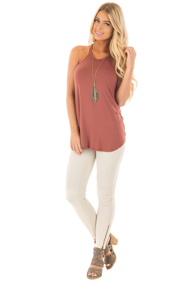 Brick Red Soft Knit Tank Top front full body