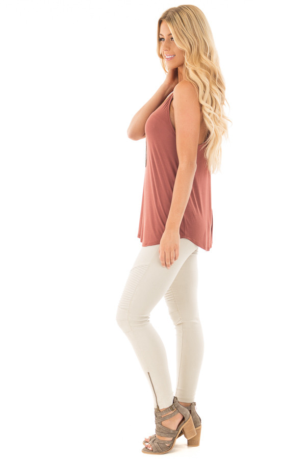 Brick Red Soft Knit Tank Top side full body