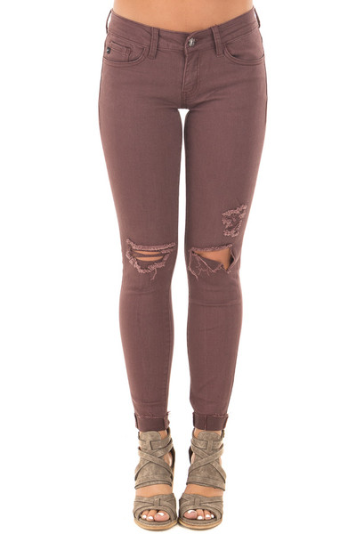 Burgundy Cropped Skinny Jeans with Distressed Details front view