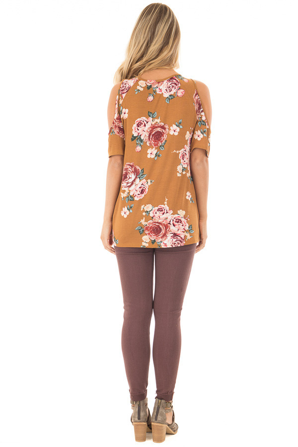 Golden Floral Print Cold Shoulder Tee Shirt with Twist Detail back full body