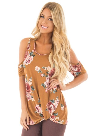 Golden Floral Print Cold Shoulder Tee Shirt with Twist Detail front close up