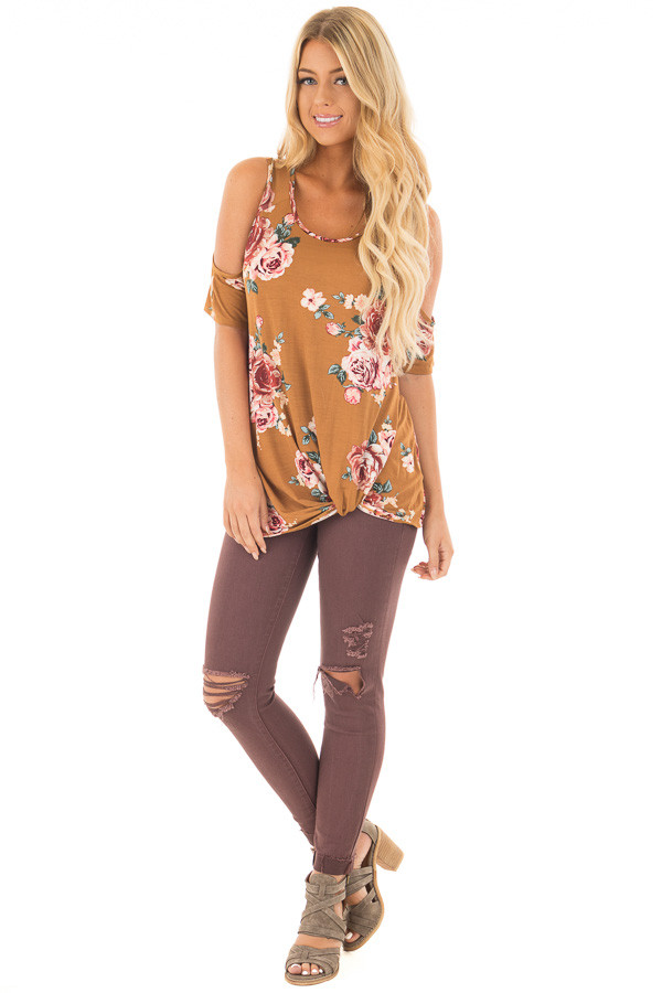 Golden Floral Print Cold Shoulder Tee Shirt with Twist Detail front full body
