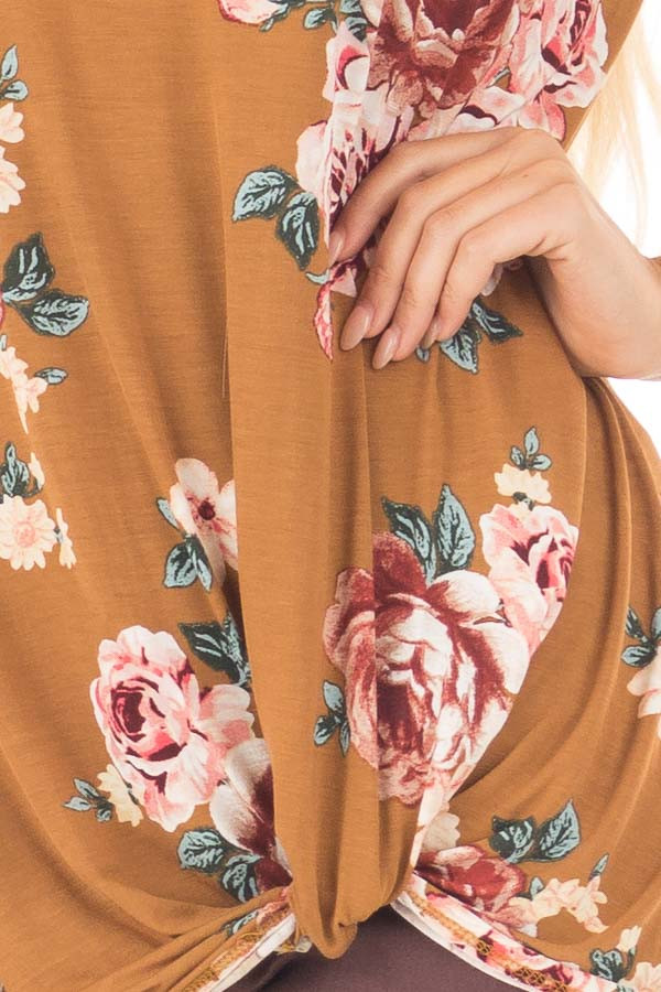 Golden Floral Print Cold Shoulder Tee Shirt with Twist Detail detail