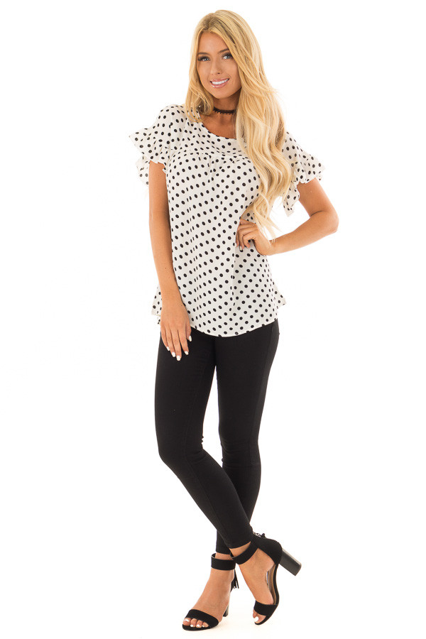 Ivory Polka Dot Babydoll Blouse with Ruffle Sleeve Detail front full body