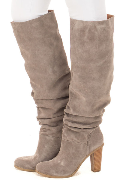 Grey Slouchy Leather High Heeled Boot side view