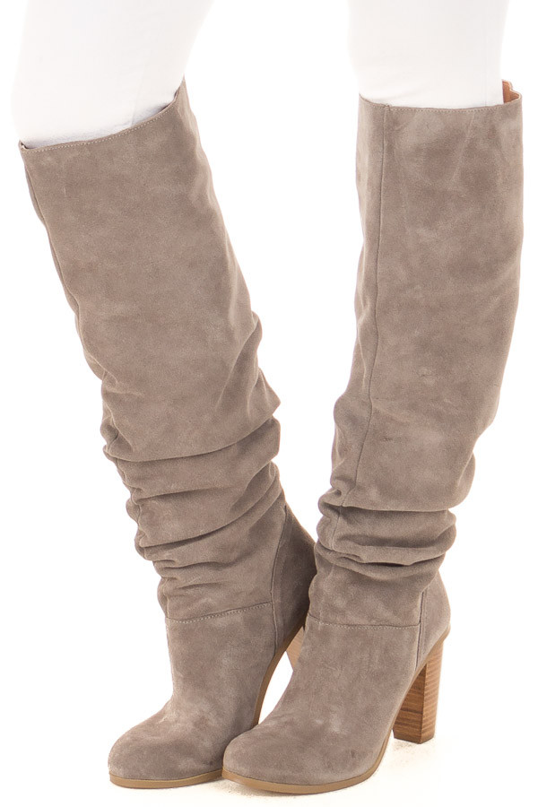 Grey Slouchy Leather High Heeled Boot front side view