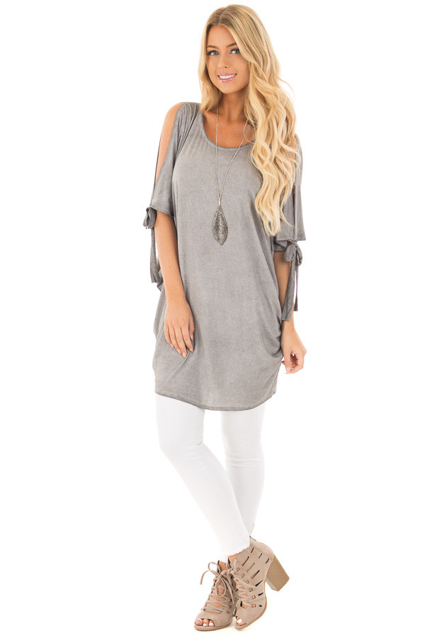 Cement Grey Mineral Wash Loose Fit Tunic front full body