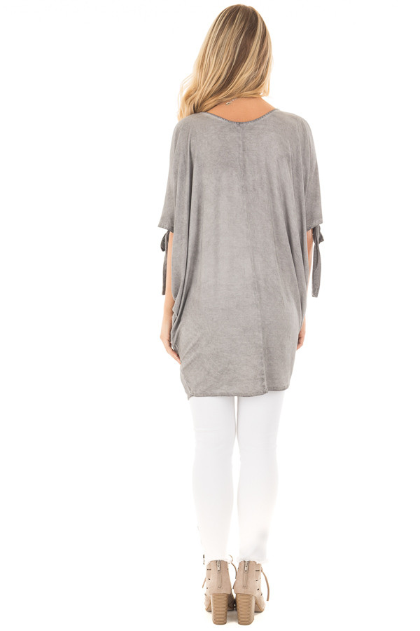 Cement Grey Mineral Wash Loose Fit Tunic back full body