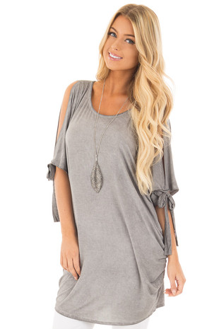Cement Grey Mineral Wash Loose Fit Tunic front close up