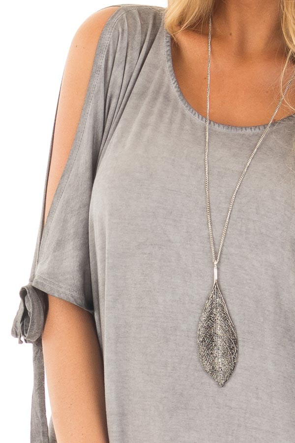Cement Grey Mineral Wash Loose Fit Tunic detail