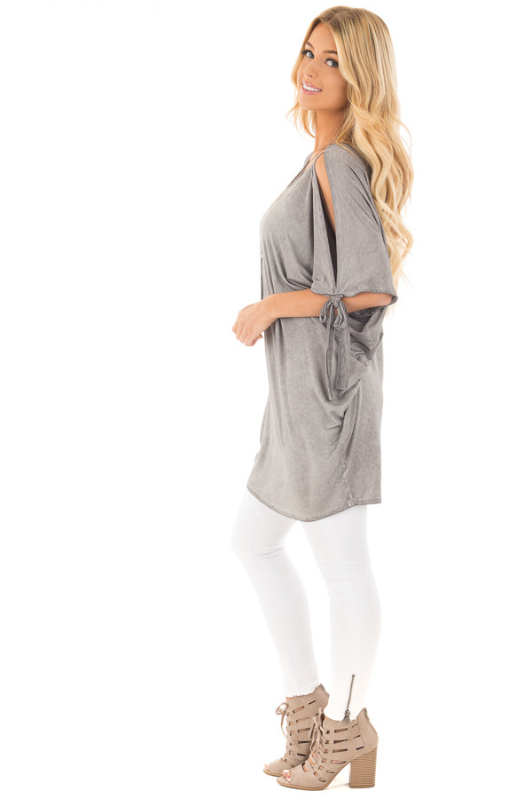 Cement Grey Mineral Wash Loose Fit Tunic side full body