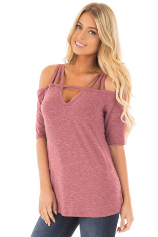 Red Bean Tee Shirt with Strappy Cold Shoulder Details front close up