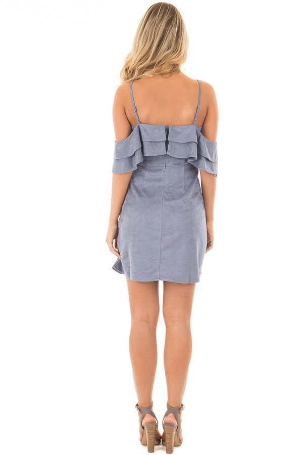 Dusty Blue Faux Suede Cold Shoulder Dress back full body