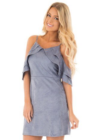 Dusty Blue Faux Suede Cold Shoulder Dress front close up