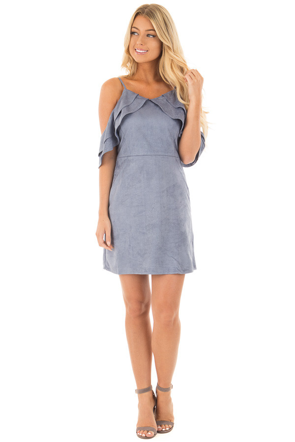 Dusty Blue Faux Suede Cold Shoulder Dress front full body