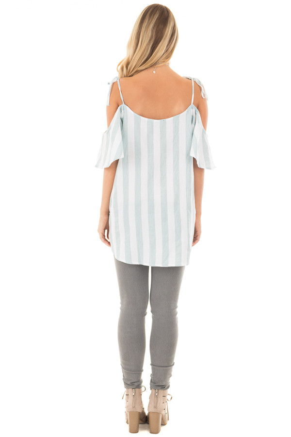 Mint and Off White Striped Linen Cold Shoulder Top back full body