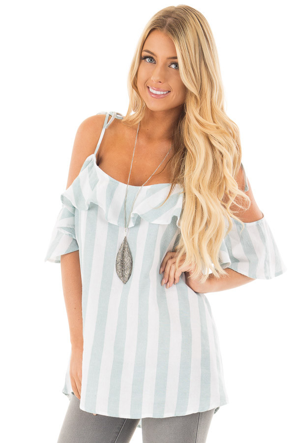 Mint and Off White Striped Linen Cold Shoulder Top front close up