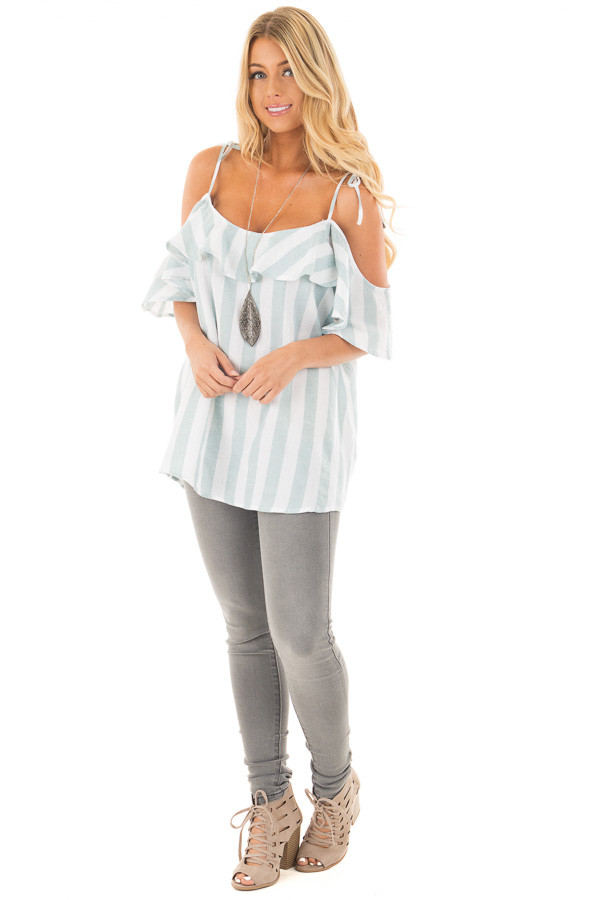 Mint and Off White Striped Linen Cold Shoulder Top front full body