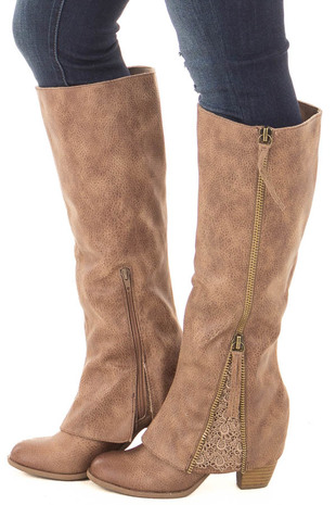 Taupe Faux Leather Tall Boot with Crochet and Zipper Detail side view
