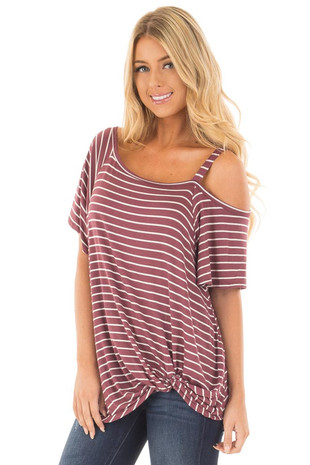 Wine Striped Off Shoulder Top with Strap and Twisted Detail front close up