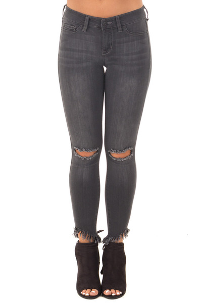 Faded Black Stretchy Skinny Jeans with Ripped Details front view