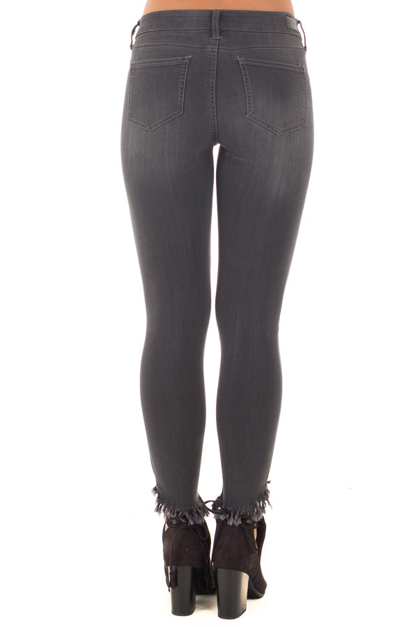 Faded Black Stretchy Skinny Jeans with Ripped Details back view