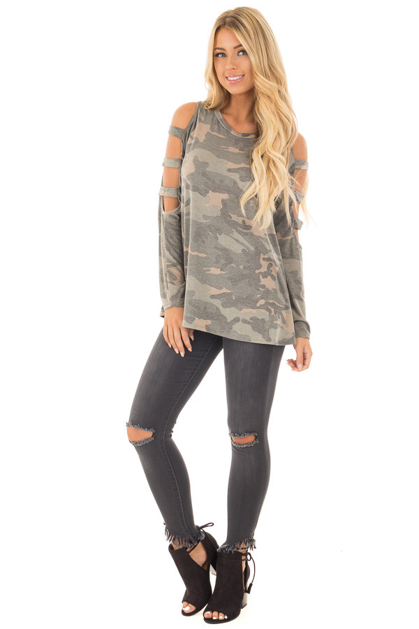 Faded Black Stretchy Skinny Jeans with Ripped Details front full body