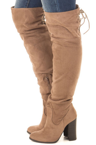 Camel Faux Suede Tall Boot with Lace Up Detail side view
