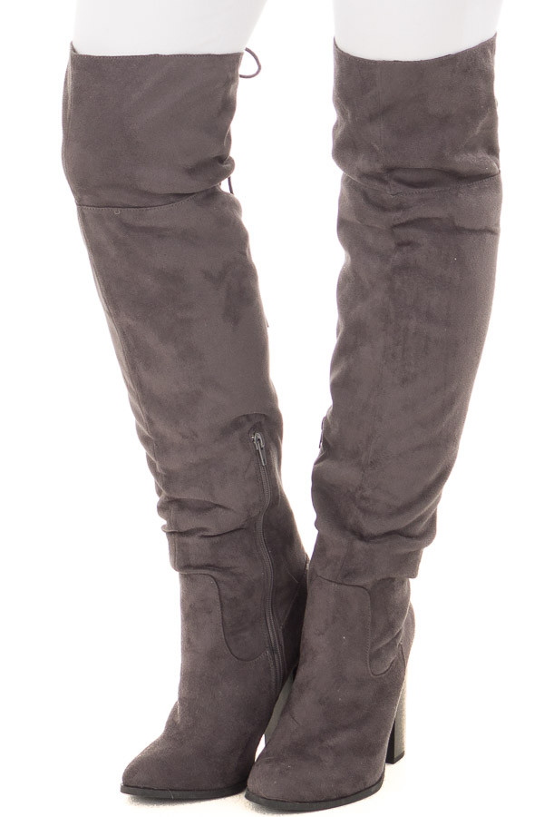 Grey Faux Suede Tall Boot with Lace Up Detail front view