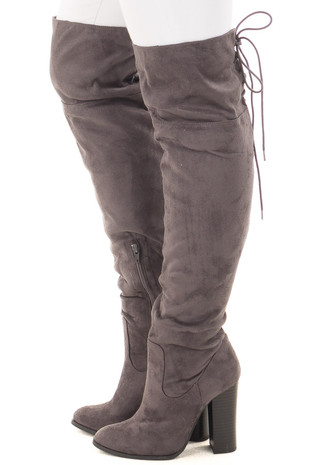 Grey Faux Suede Tall Boot with Lace Up Detail side view